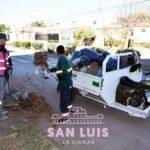 El operativo de limpieza continuó este martes en los barrios 544 y San Luis 26